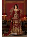 Maroon Embroidered Floor Length Suit