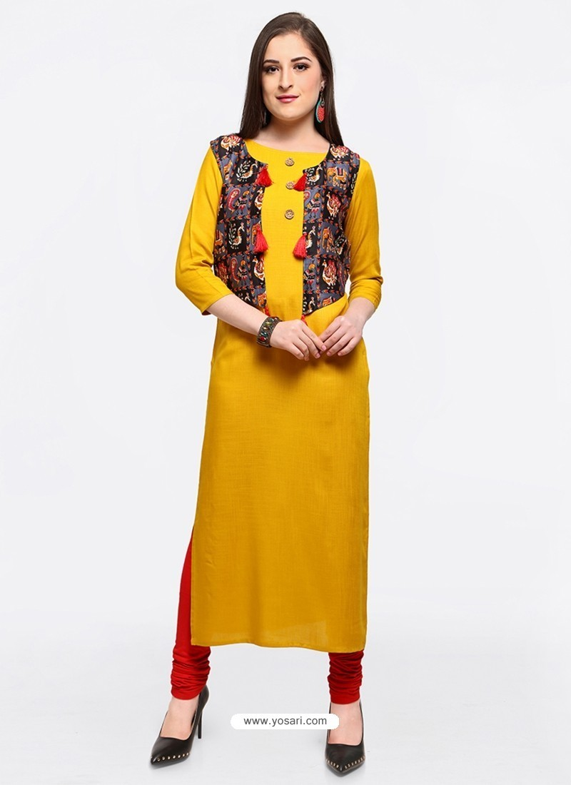 Glorious Yellow Party Wear Kurti