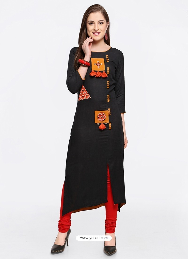 Dazzling Black Embroidered Kurti