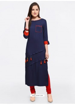 Feminine Navy Blue Embroidered Kurti