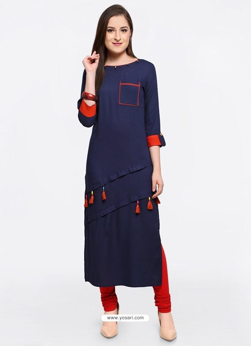 Feminine Navy Blue Embroidered Kurti