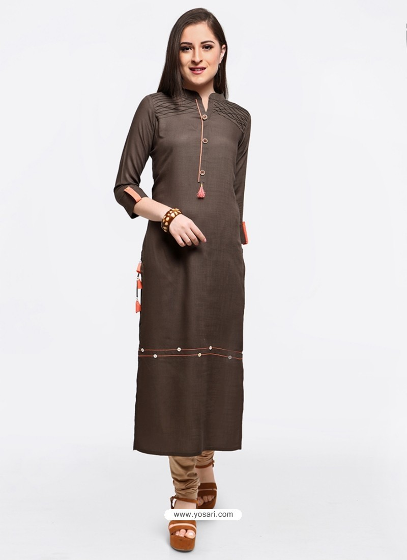 Decent Brown Embroidered Party Wear Kurti