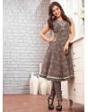 Brown Shade Embroidered Work Anarkali Suit