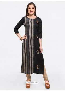 Flawless Black Embroidered Stylish Kurti