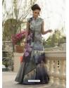 Marvelous Grey Art Silk Printed Gown