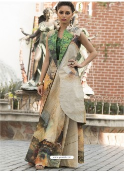 Groovy Green Art Silk Gown