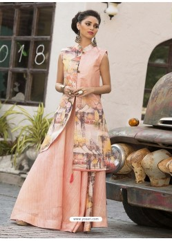 Magnificent Peach Print Party Wear Gown