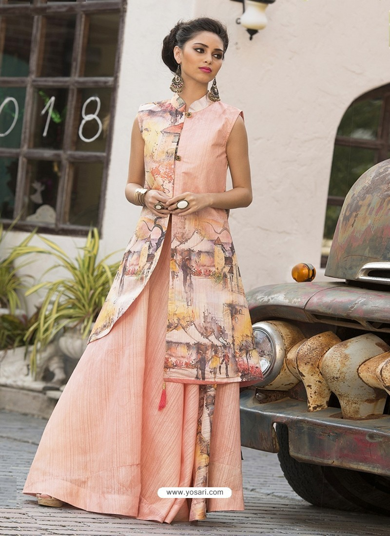 Buy Magnificent Peach Print Party Wear Gown | Gowns