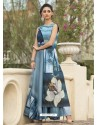 Luxurious Turquoise Art Silk Gown