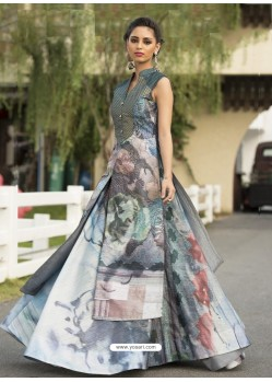 Fashionistic Grey Printed Party Wear Gown