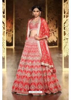 Red Embroidered Silk Lehenga Choli