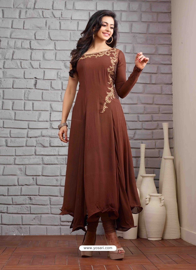 Brown Embroidered Work Anarkali Suit