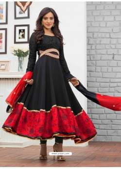 Red And Black Embroidered Work Anarkali Suit