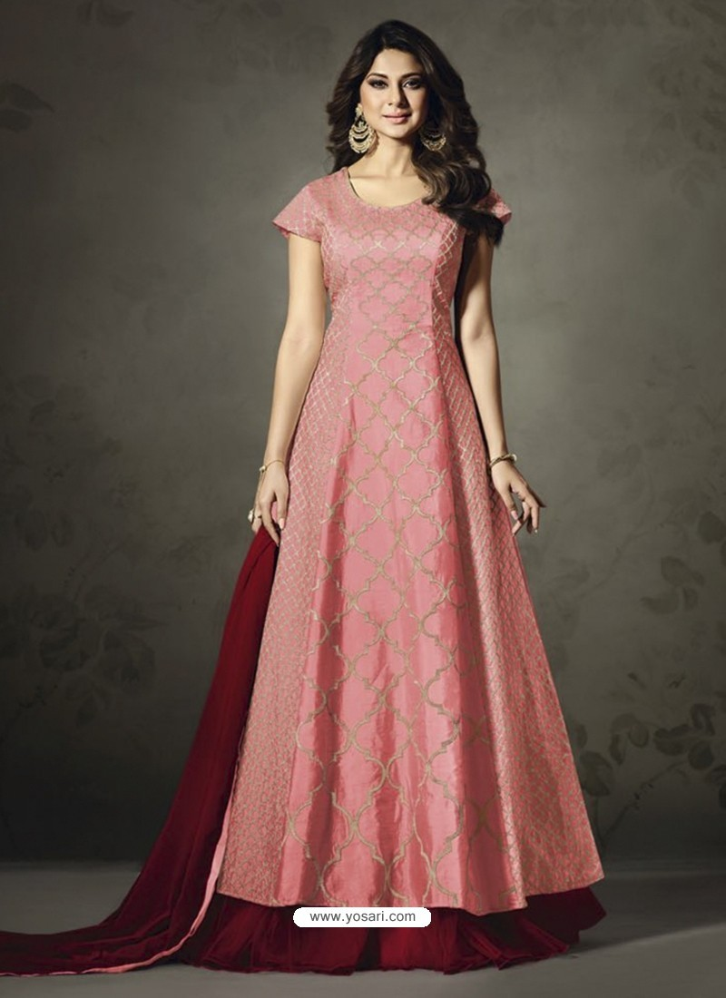 Heavenly Embroidered Peach Floor Length Suit