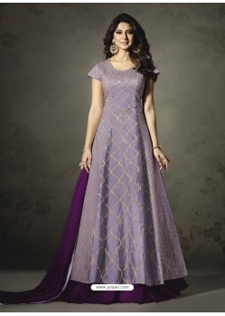 Splendid Purple Embroidered Floor Length Suit