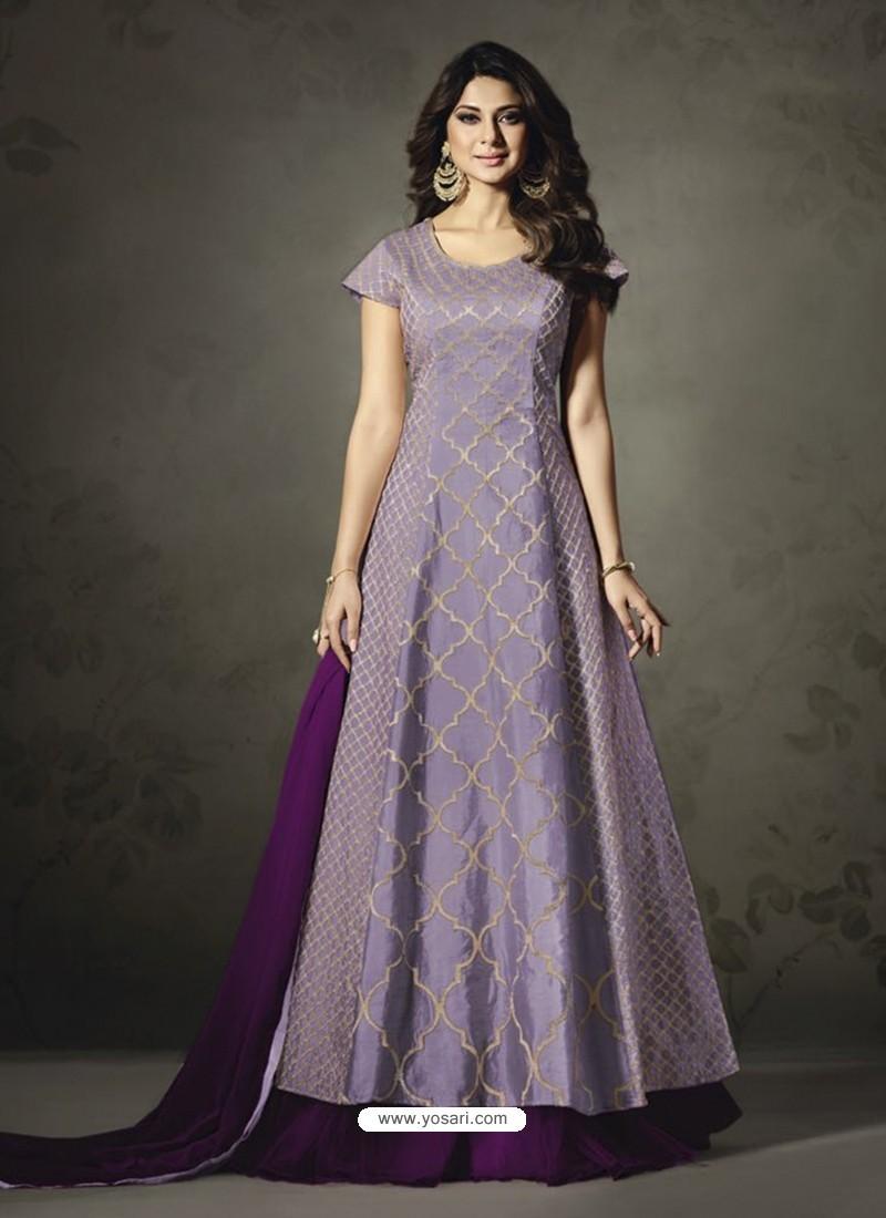 Splendid Purple Embroidered Floor Length Suit