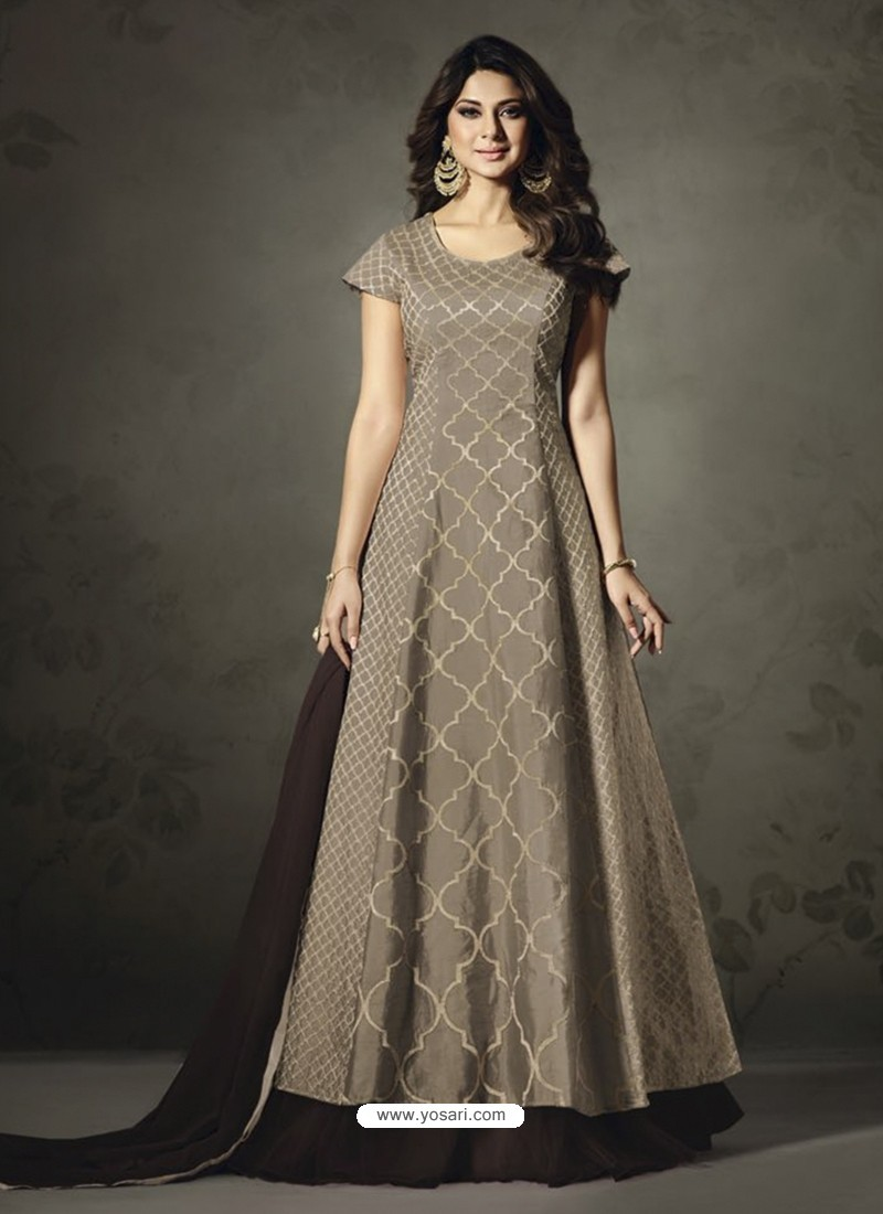 Ordinary Taupe Designer Embroidered Floor Length Suit