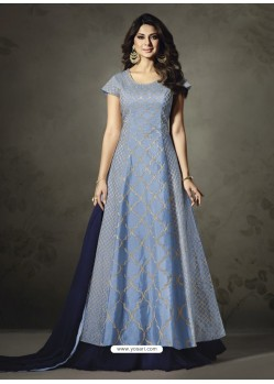 Designer Blue Embroidered Floor Length Suit