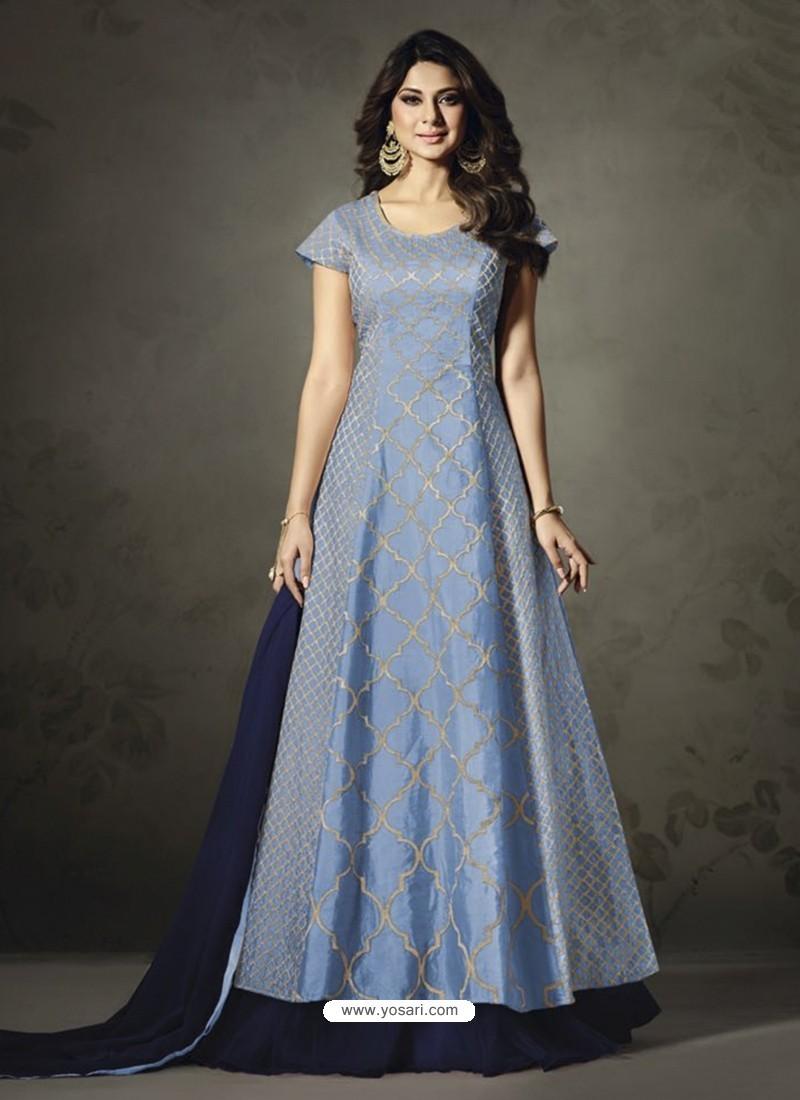 Designer Blue Embroidered Floor Length Suit