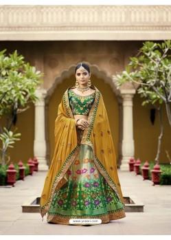 Green Embroidered Silk Lehenga Choli