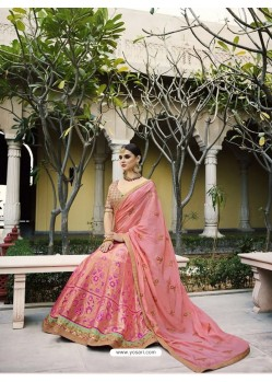 Baby Pink Silk Embroidered Lehenga Choli