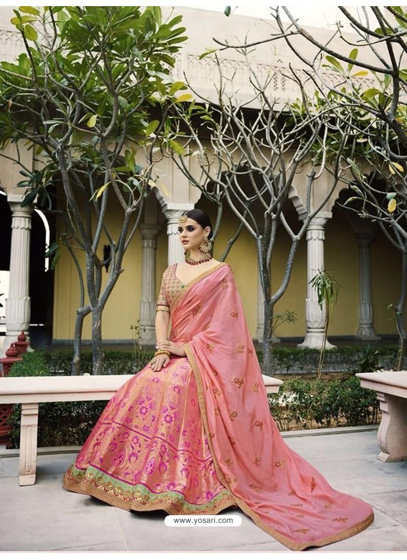 Baby Pink Silk Embroidered Lehenga Choli