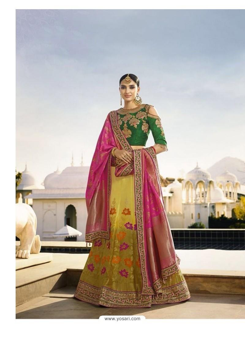 Multi Colour Embroidered Silk Lehenga Choli