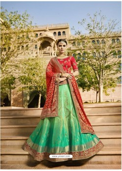 Sea Green Embroidered Silk Lehenga Choli