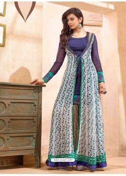 Purple Embroidered Work Anarkali Suit