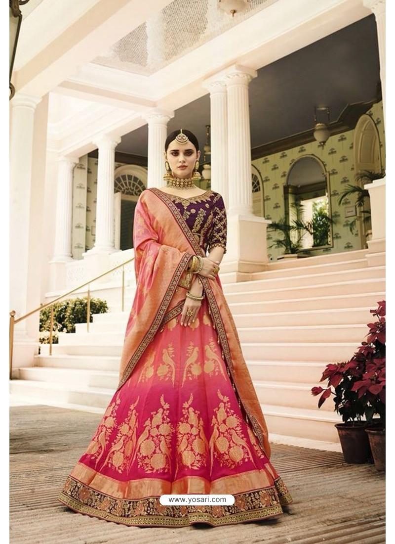 7d3ca6ff32 Buy Peach Silk Embroidered Lehenga Choli | Wedding Lehenga Choli