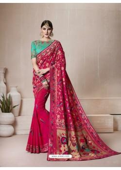 Crimson Silk Thread Work Saree