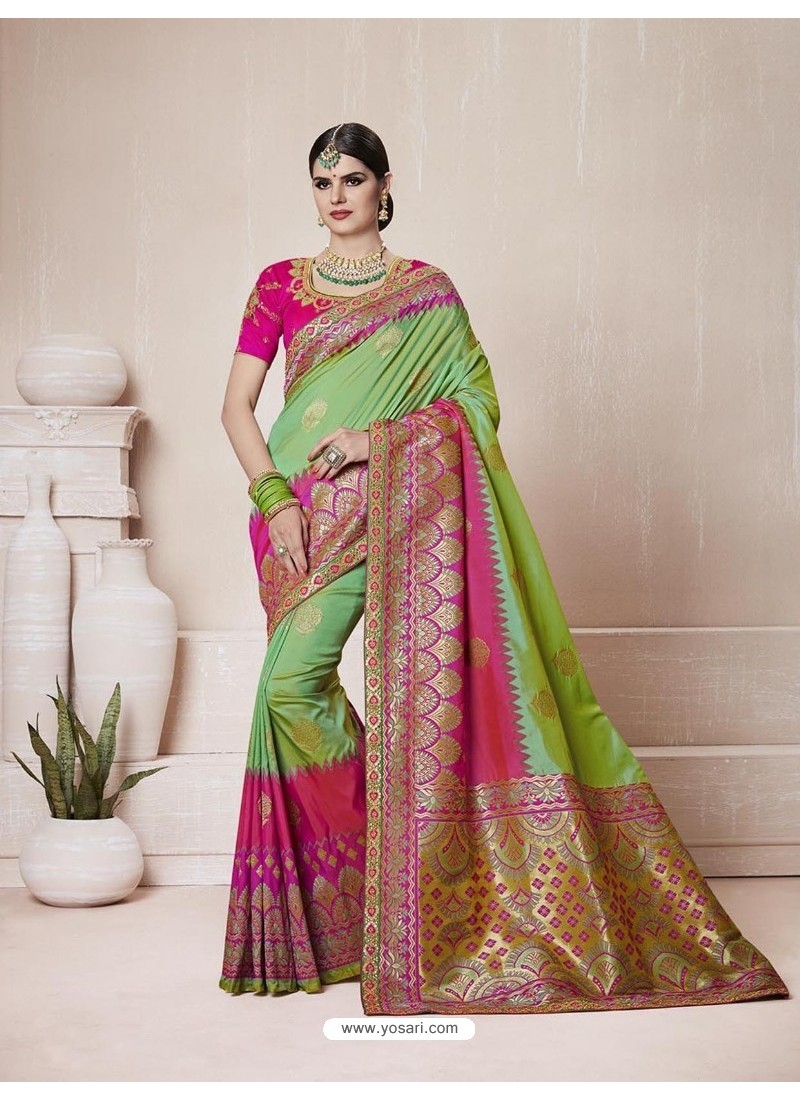 Awesome Green Silk Thread Work Saree