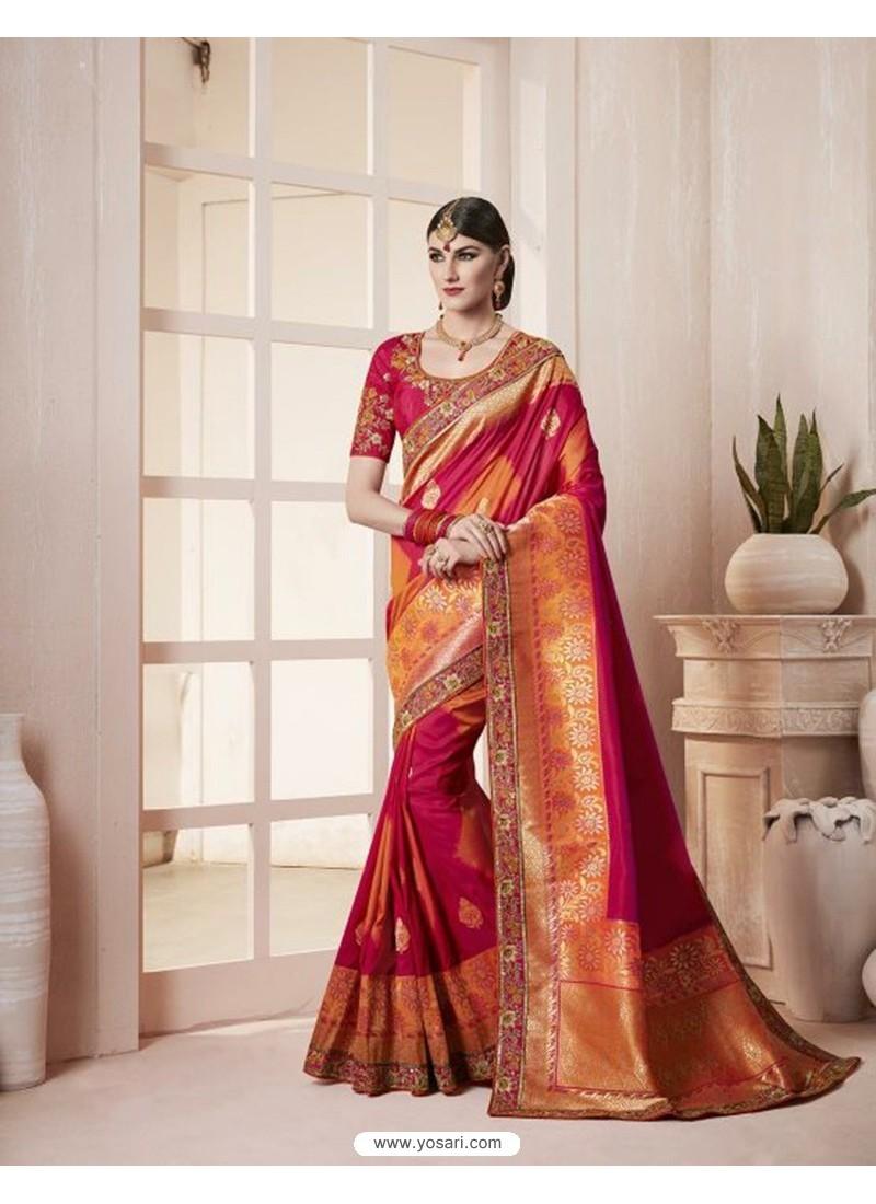 Silk Red Thread Work Designer Saree