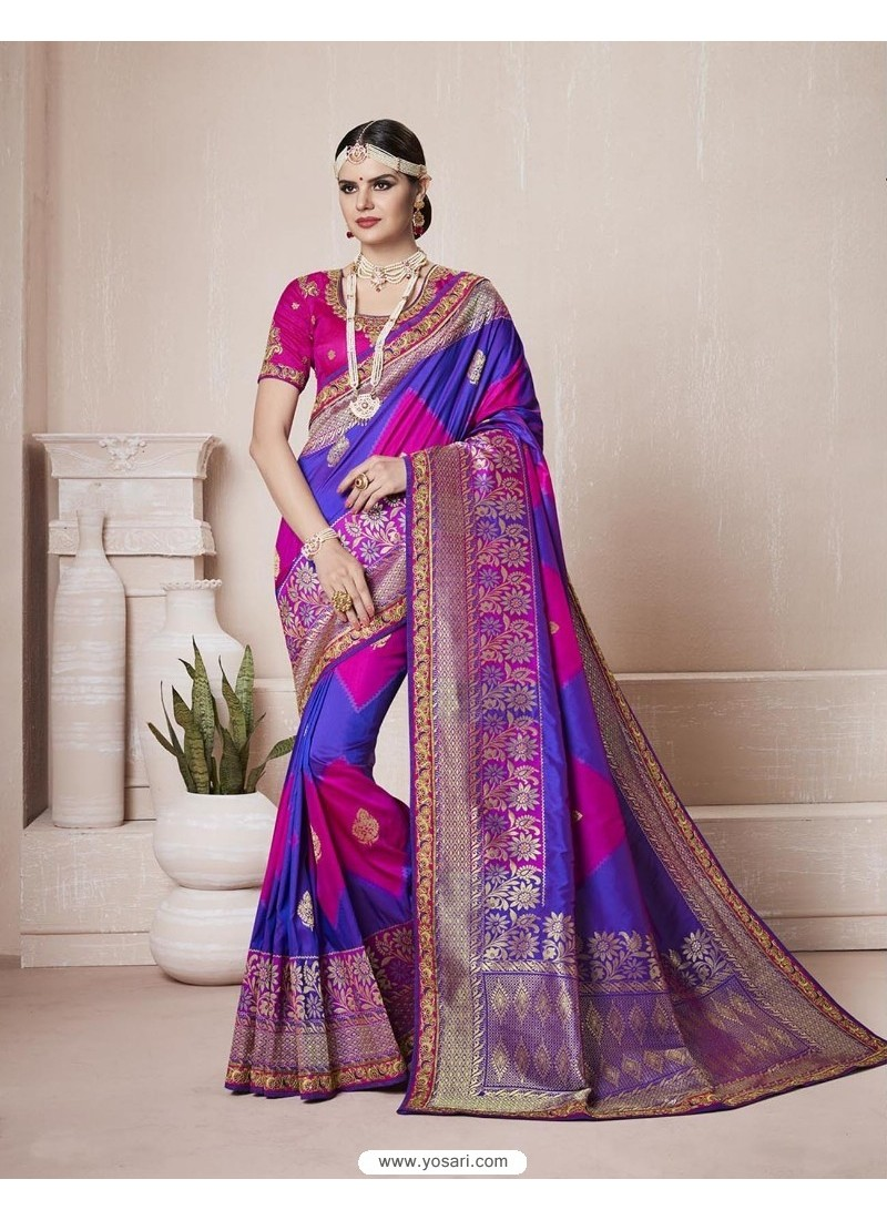 Traditional Royal Blue Silk Saree