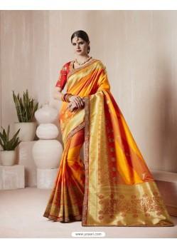 Glorious Orange Silk Thread Work Saree