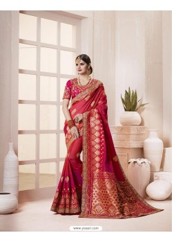 Adorable Red Silk Thread Work Saree