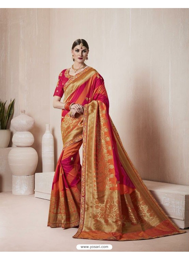 Affectionate Multi Colour Thread Work Silk Saree