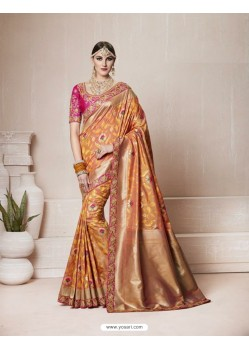 Lovely Camel Silk Thread Work Saree
