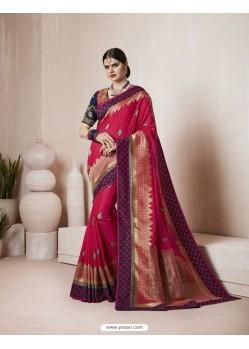 Red Thread Work Silk Saree