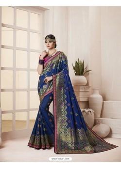 Trendy Navy Blue Thread Work Silk Saree