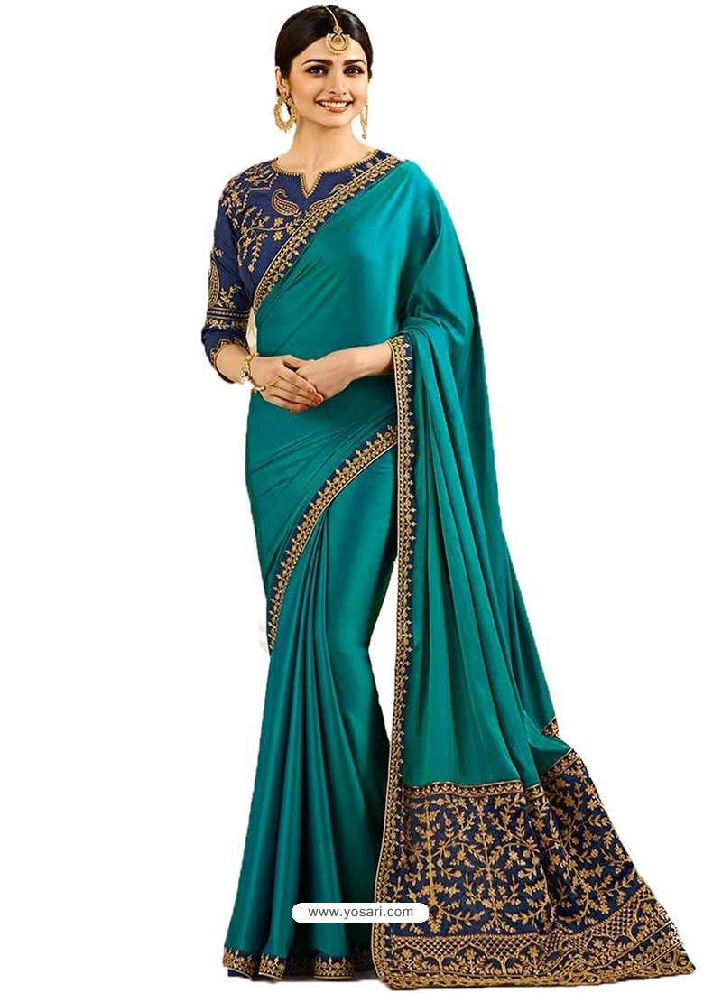 Teal Silk Embroidered Party Wear Saree