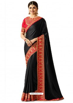 Black Silk Embroidered Party Wear Saree