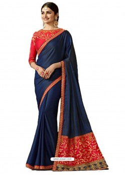 Navy Blue Silk Embroidered Party Wear Saree