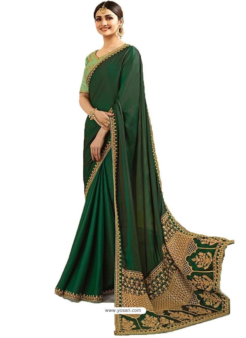 Dark Green Silk Embroidered Party Wear Saree