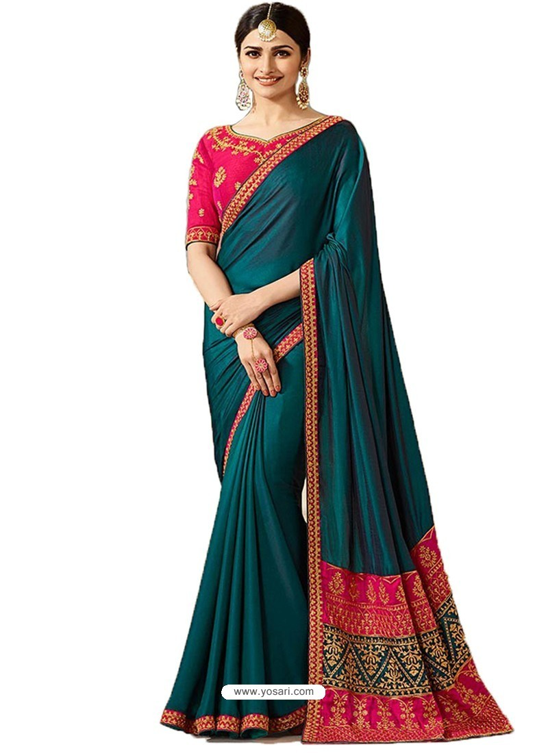 Tealblue Silk Embroidered Party Wear Saree