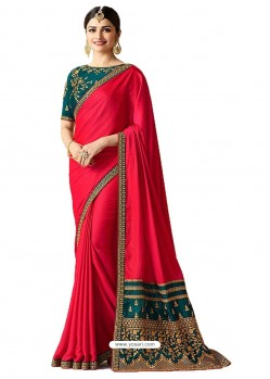 Red Silk Embroidered Party Wear Saree