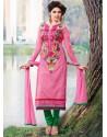 Pink Cotton Churidar Suit