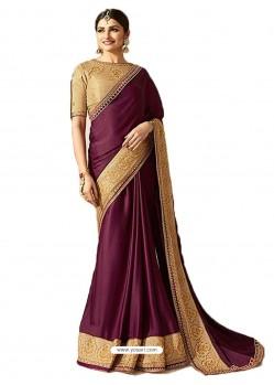 Purple Silk Embroidered Party Wear Saree