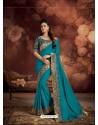 Turquoise Border Work Silk Saree