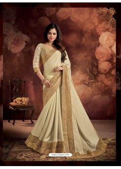 Cream Border Work Silk Saree